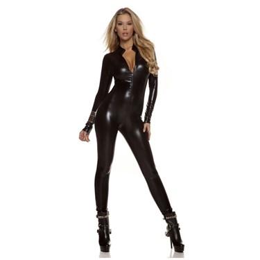 Women's Sexy Black Metallic Catsuit Costume