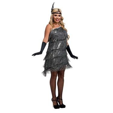 Womens Slant Fringe Flapper Costume