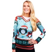 Womens Winter Penguin Sweater