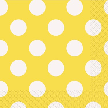Yellow and White Dots Lunch Napkins (16)