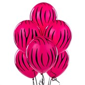 Zebra Stripes Wild Berry Latex Balloons (6 count)