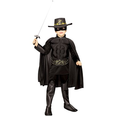 Zorro Muscle Chest Deluxe Child Costume size